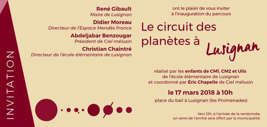 Inauguration du Circuit des planètes à Lusignan